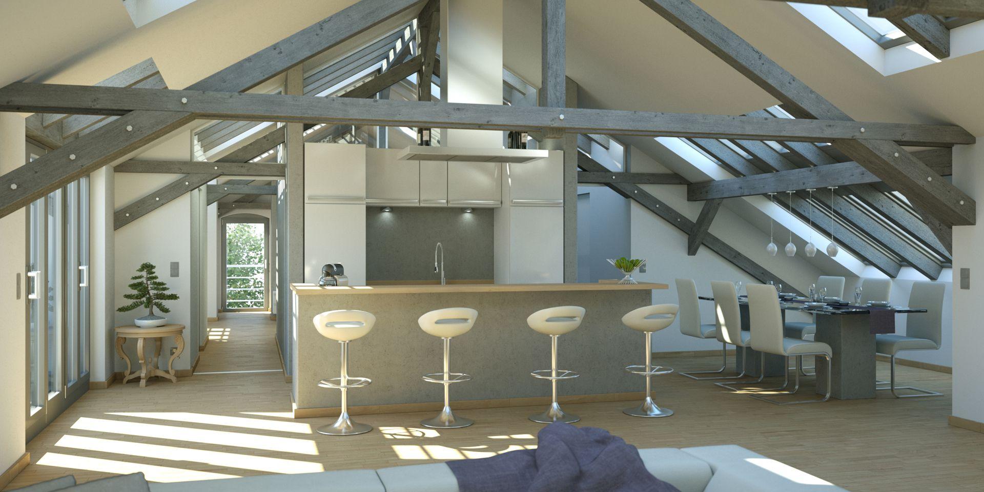 Visualisierung Dachstuhl Küche