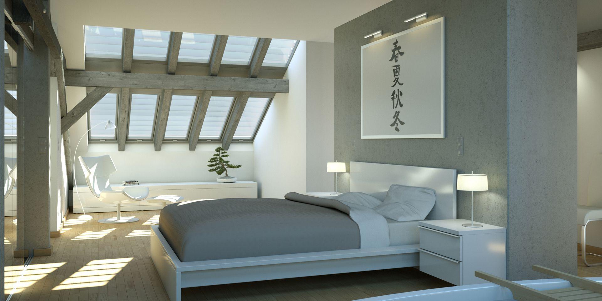 Visualisierung Dachstuhlausbau Schlafzimmer