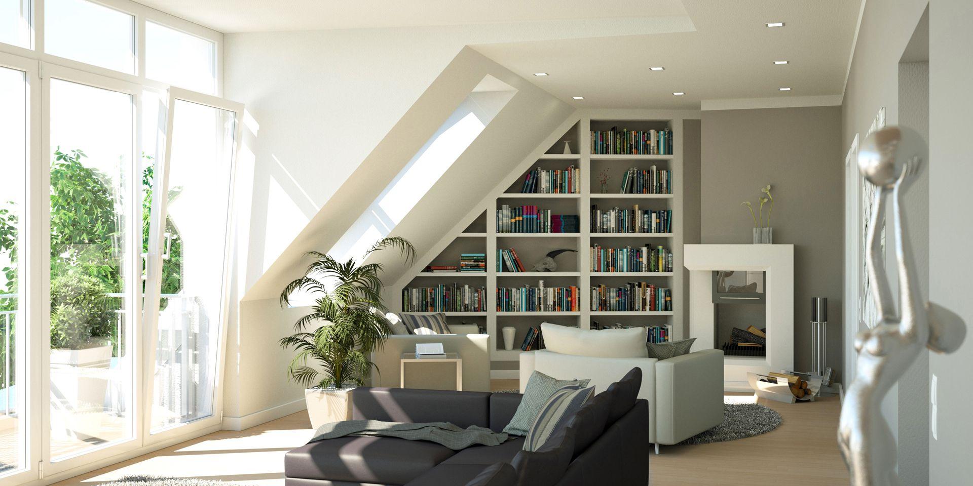 Architekturvisualisierung Altbausanierung Wohnzimmer Berlin