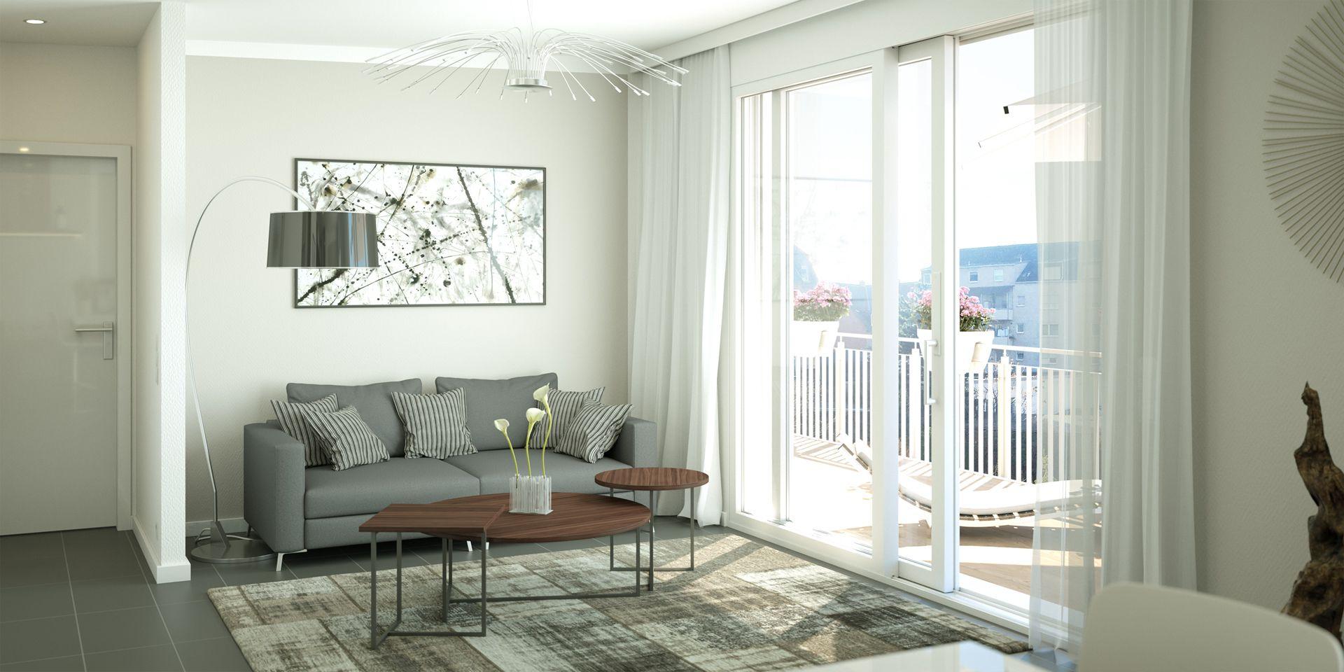 Visualisierung Penthousewohnung Wohnzimmer Mannheim