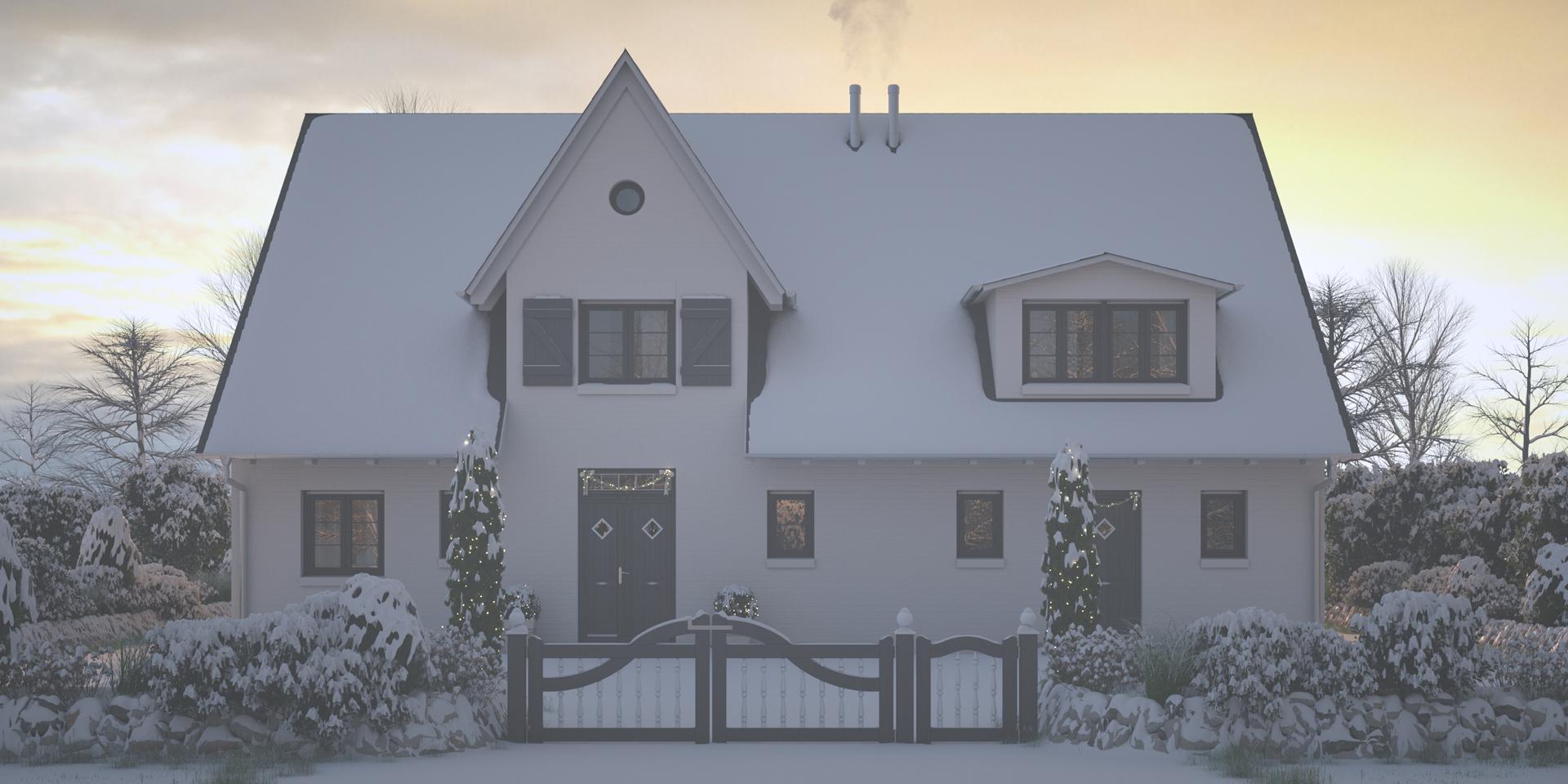 Visualisierung Ferienhaus Sylt Winter - Plankosmos 3D Architekturvisualisierung