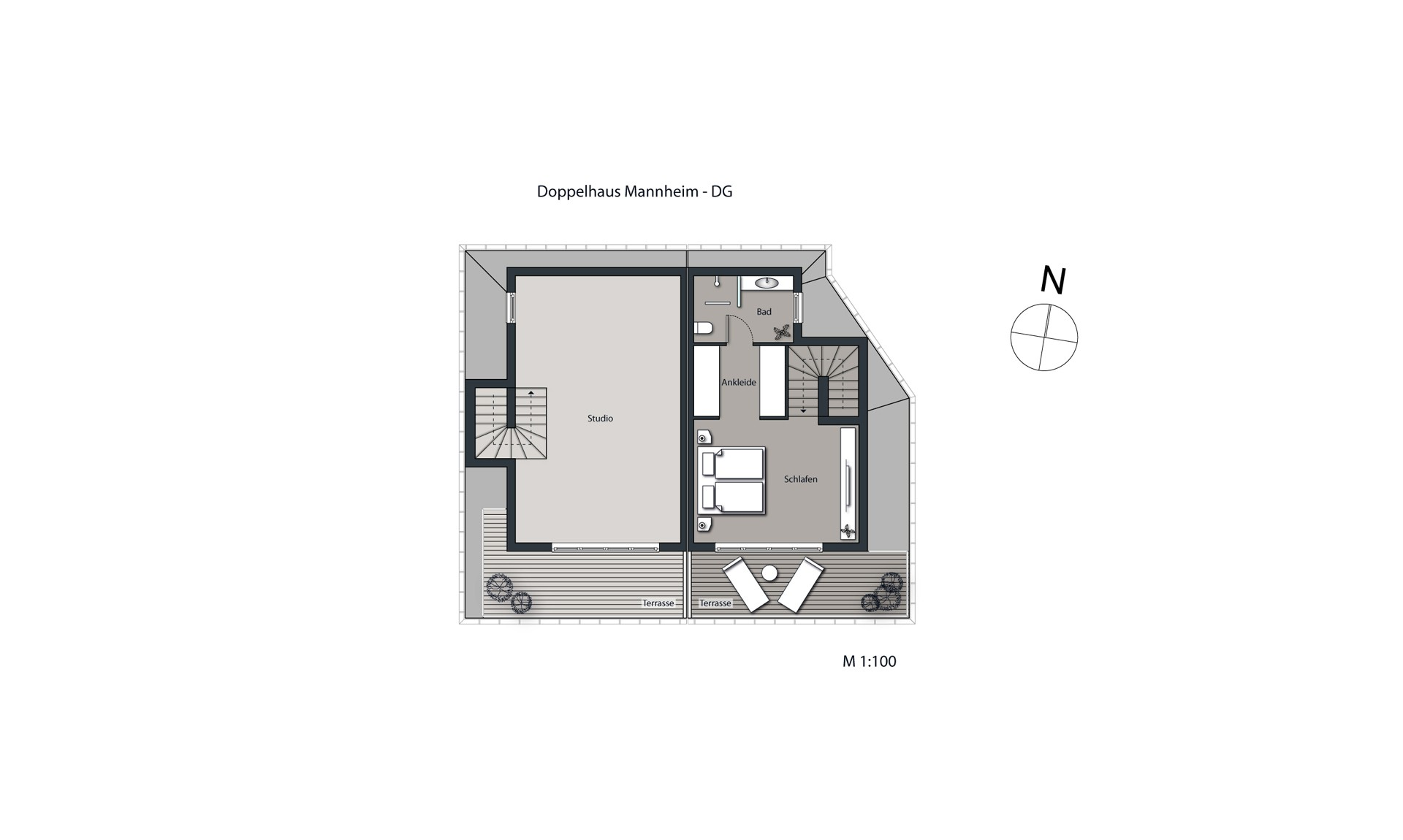 Visualisierung Doppelhaus Mannheim Grundriss DG