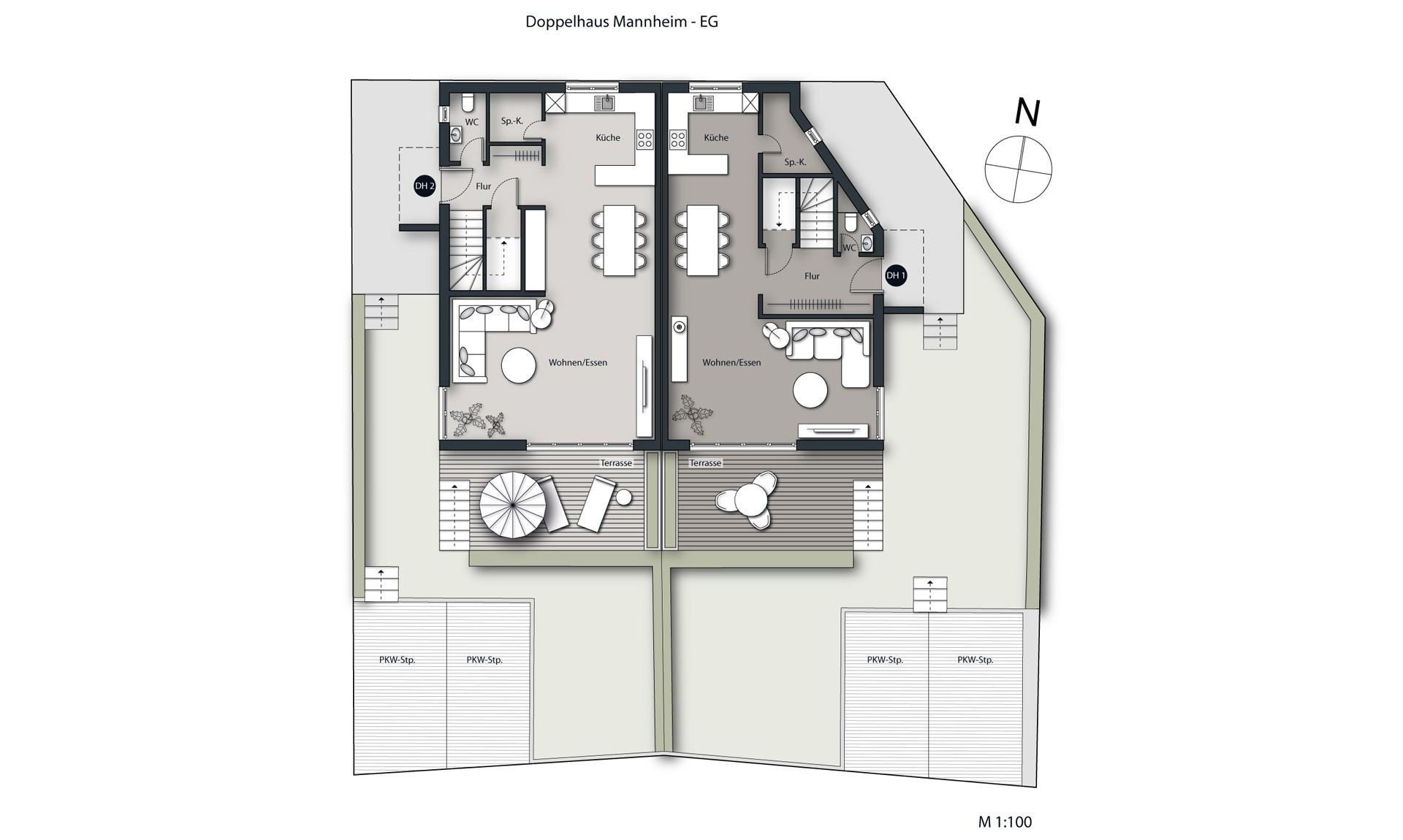Visualisierung Doppelhaus Mannheim Grundriss EG