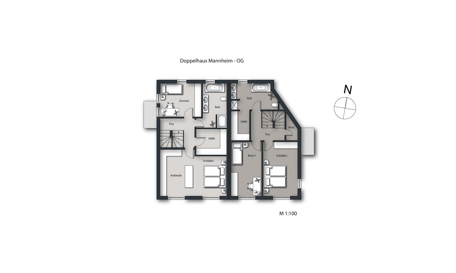 Visualisierung Doppelhaus Mannheim Grundriss OG