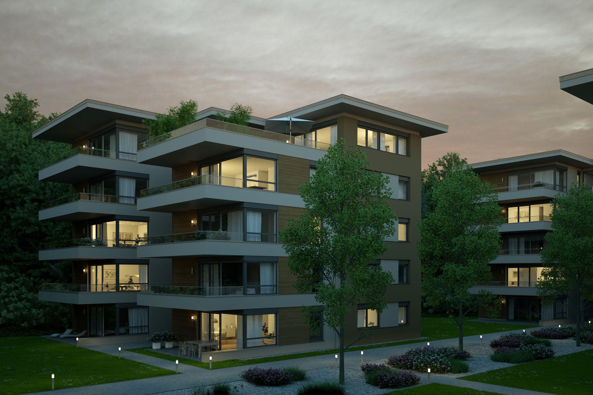 Visualisierung Wohnanlage Bad Kreuznach Exterieur Nachtbild