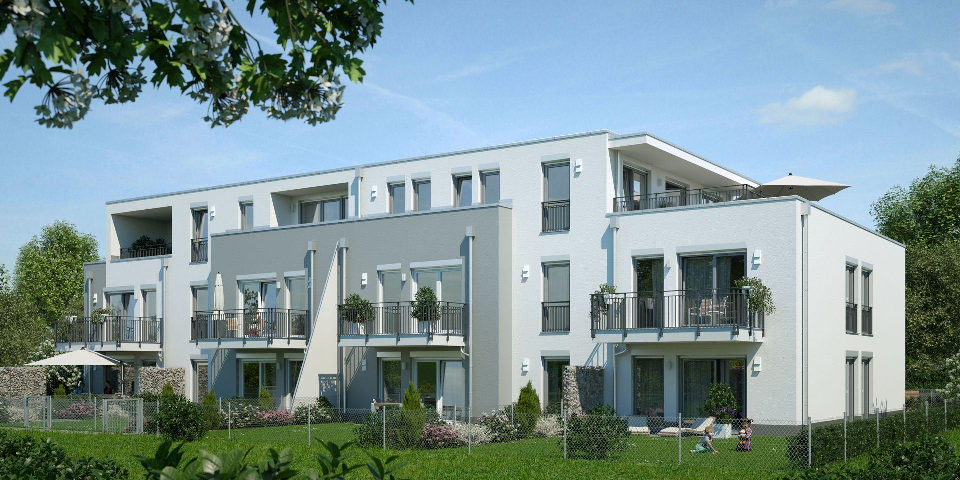 Visualisierung Mehrfamilienhaus München Gartenansicht