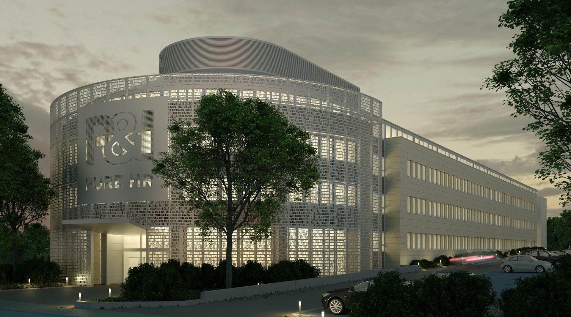 Visualisierung Fassade - Metallfassade Nachtbild