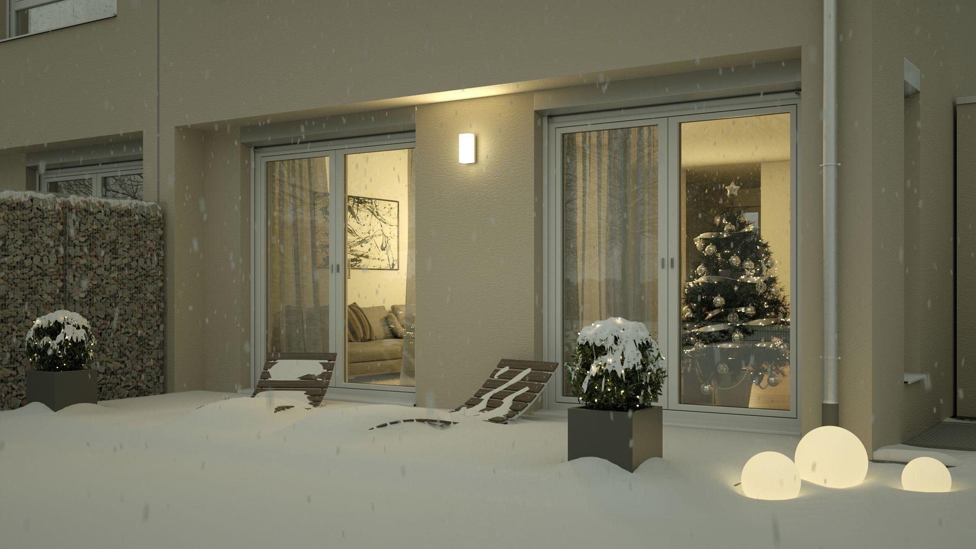 Visualisierung Weihnachtsbild - Winterbild Blick in Wohnzimmer