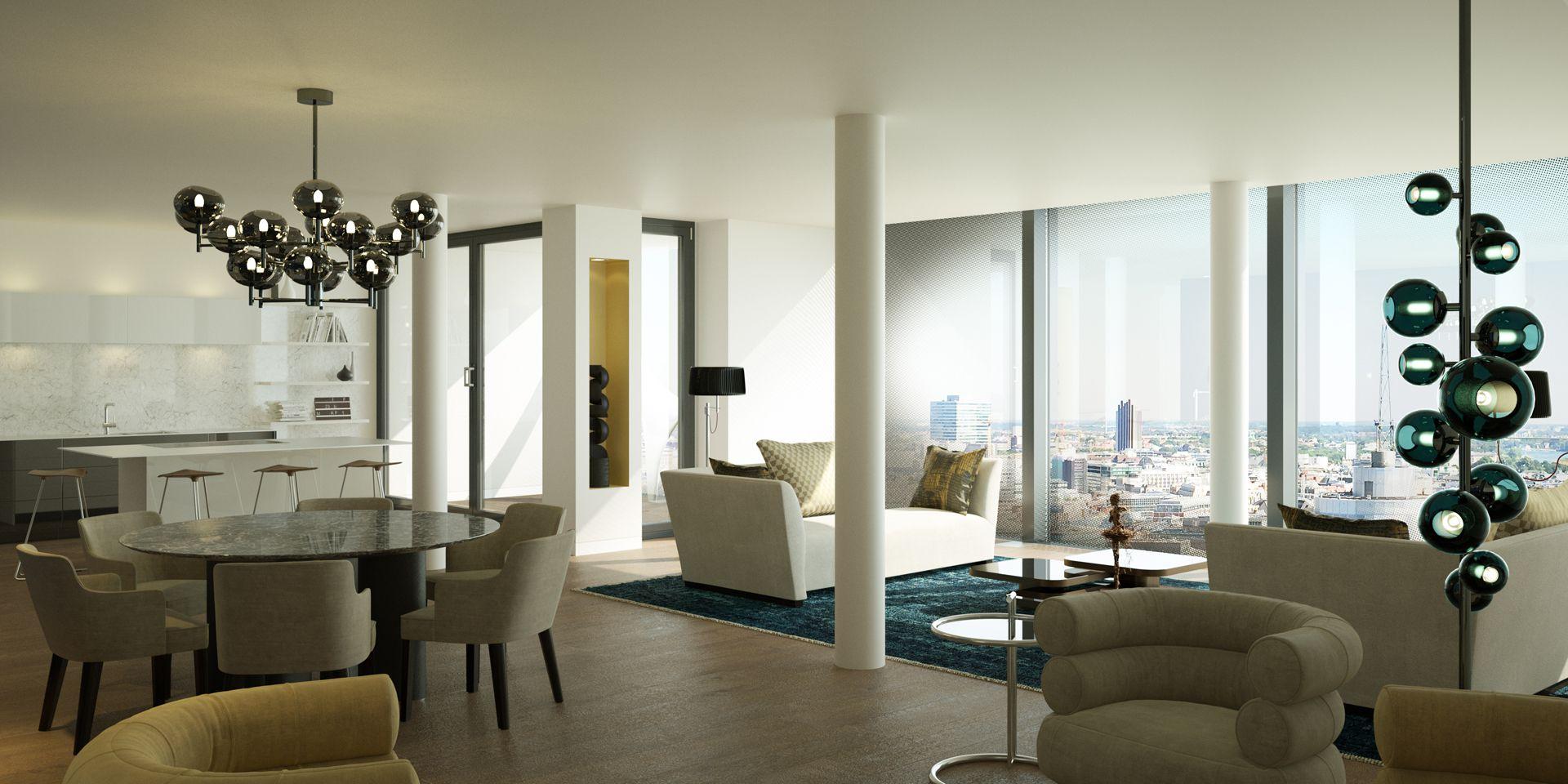 3D Visualisierung Elbphilharmonie Hamburg - Wohnzimmer