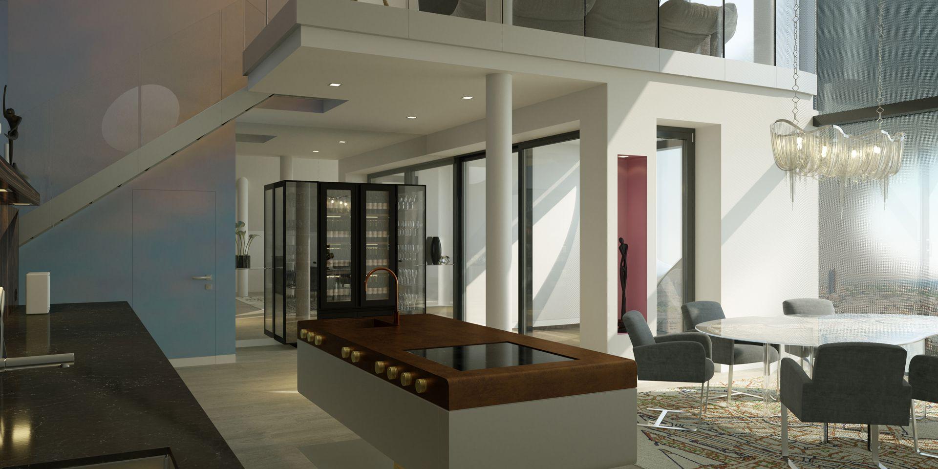 3D Visualisierung Maisonette-Wohnung Elbphilharmonie Hamburg - Essbereich