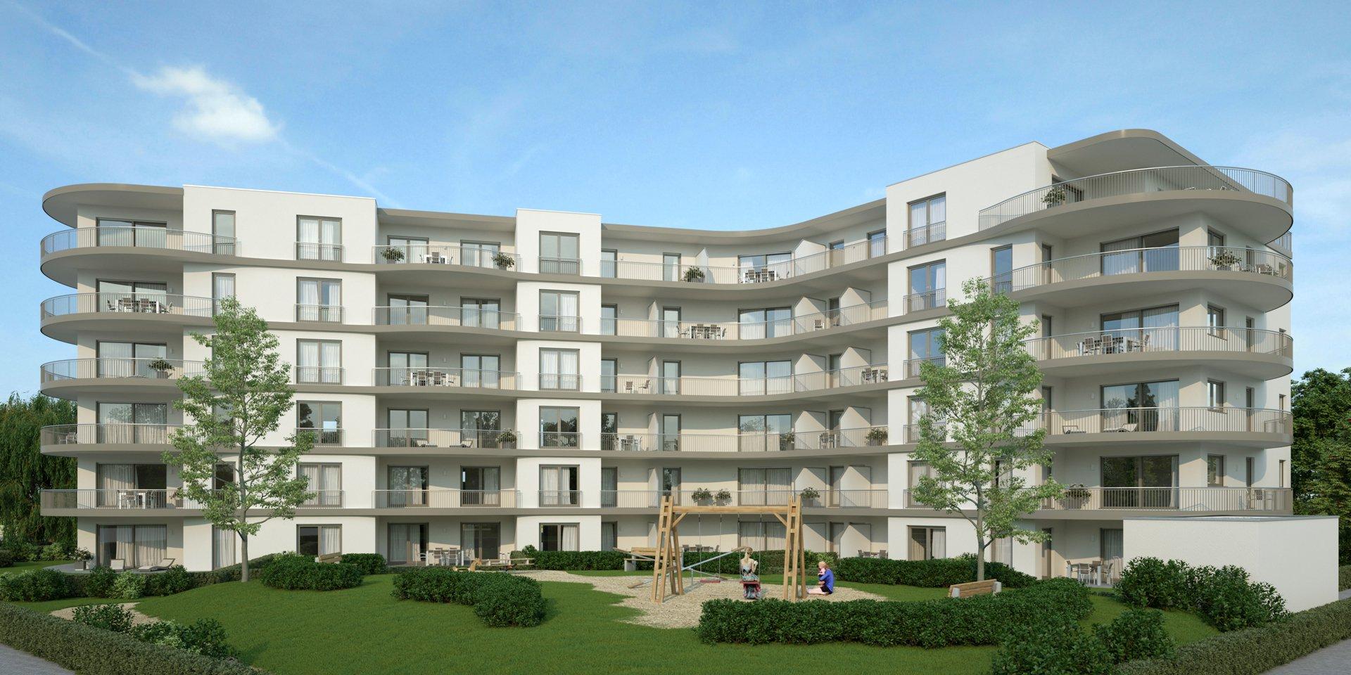 3D Visualisierung Augsburg Wohnungen mit Parkanlage