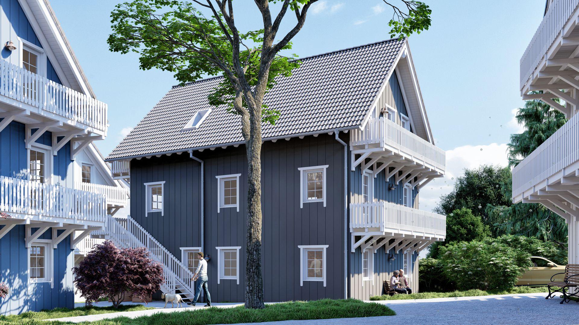 Architekturvisualisierung Ranstadt - Wohnsiedlung Exterieur 01