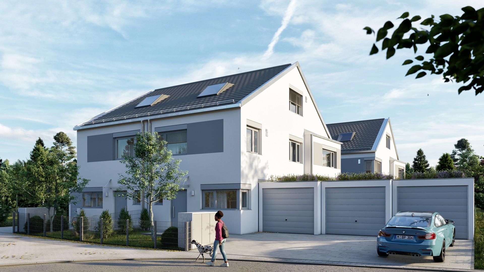 Architekturvisualisierung Doppelhäuser